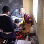 Students building solar reading lights.